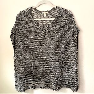 Eileen Fisher black and white open knit poncho